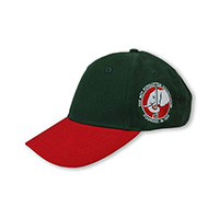 Baseball Cap - Green with Red Peak